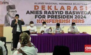Relawan ANIES yang mengusung Anies Baswedan sebagai capres di 2024 dideklarasikan di Jakarta. Foto: CNNIndonesia/Martahan Sohuturon